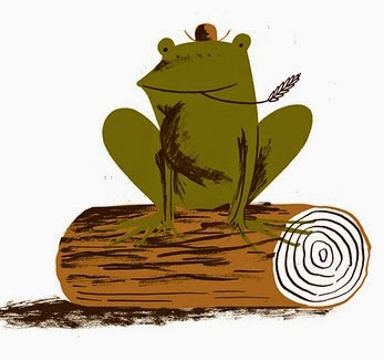 illustration of a frog on a log by Nicholas John Frith