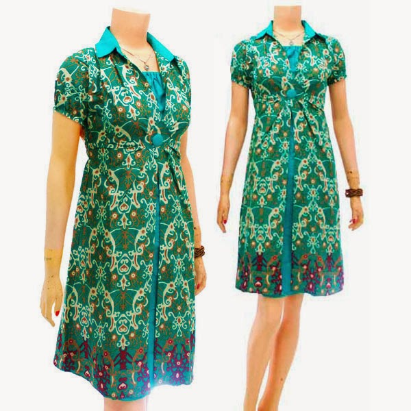 DB3739 Mode Baju Dress Batik Modern Terbaru 2014
