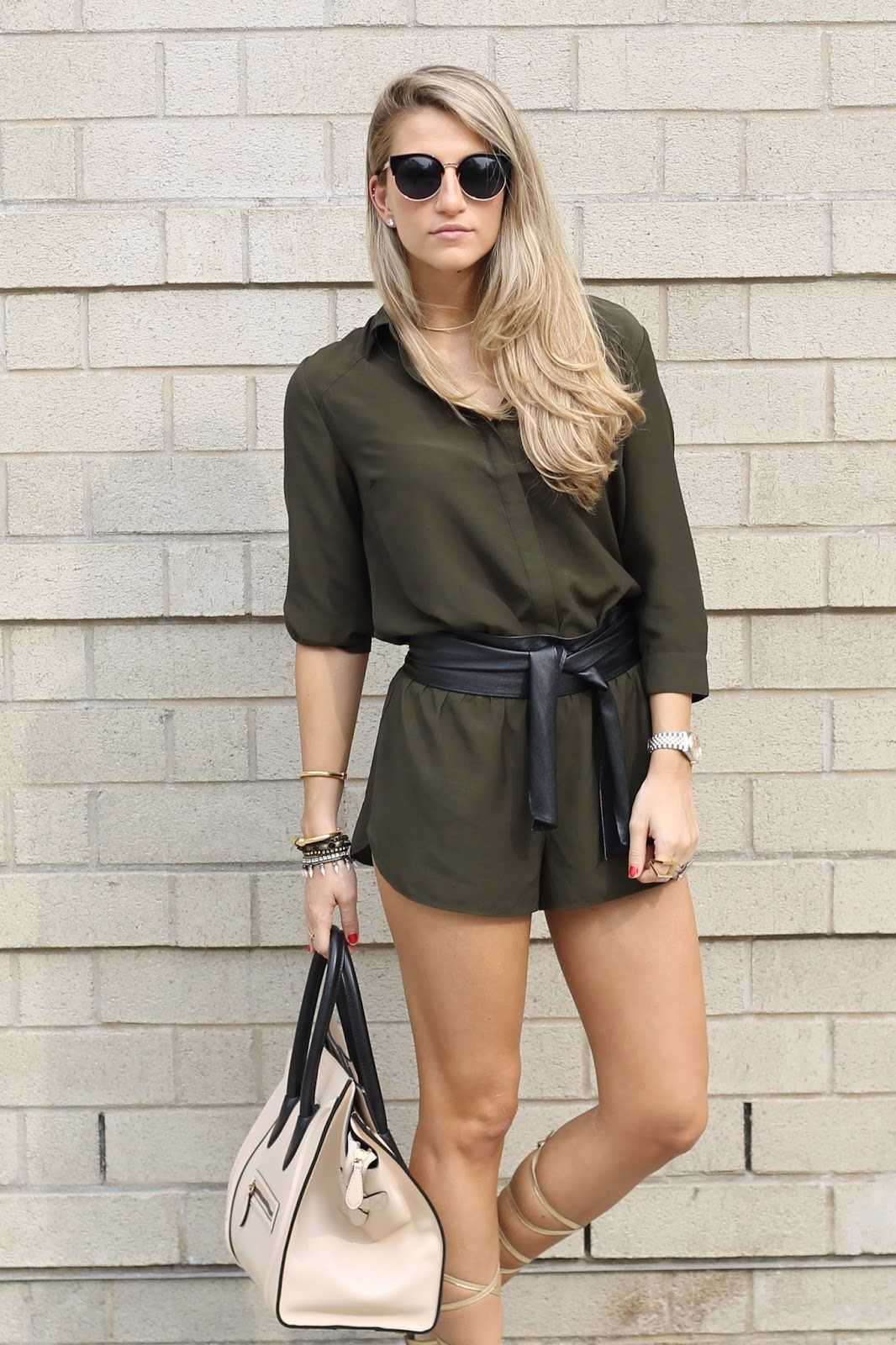 Forever21 Olive Utility Romper, Black leather Sash Belt
