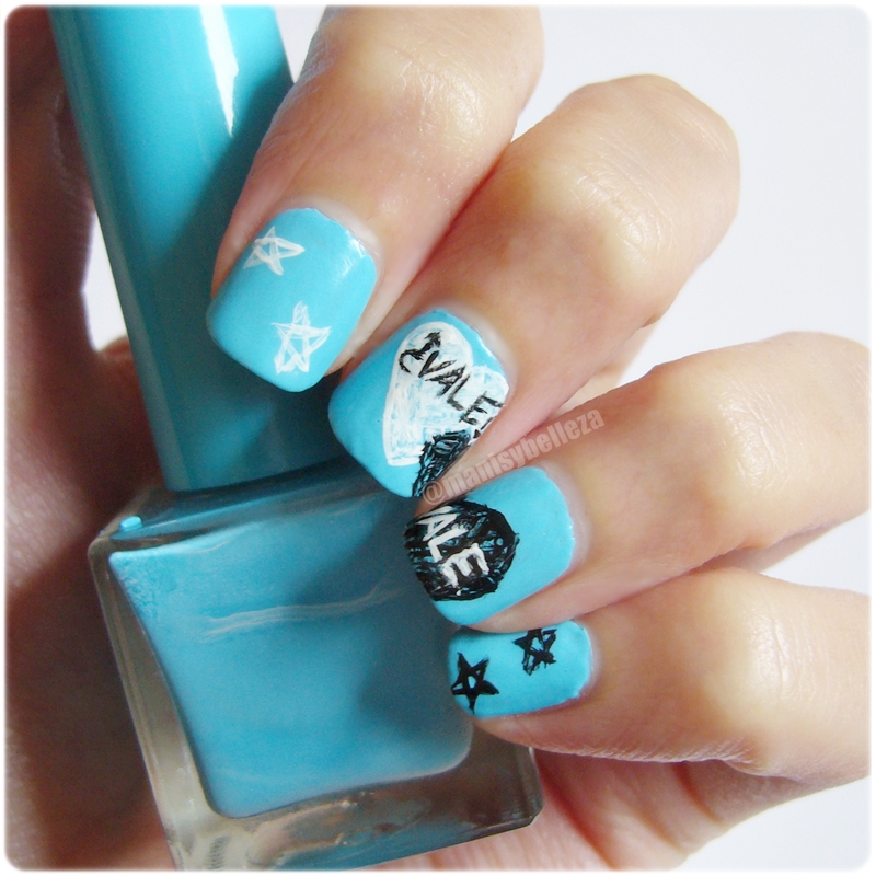 Uñas nail art manicura Bajo la misma estrella blme tfios The fault in our stars John Green nails of the day notd blue azul reto colores