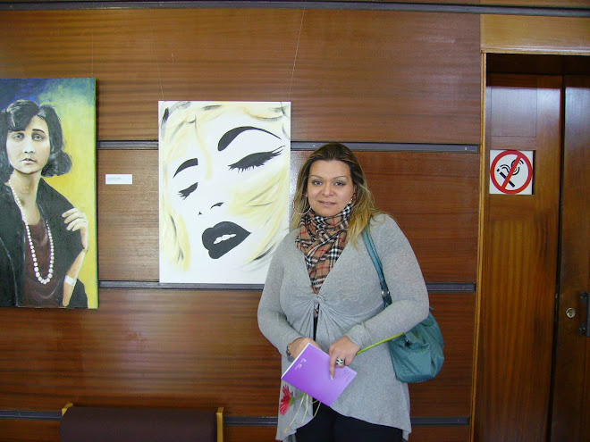 Teresa Duarte with her work
