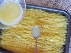 Cataif cu frisca si nuca preparare blat