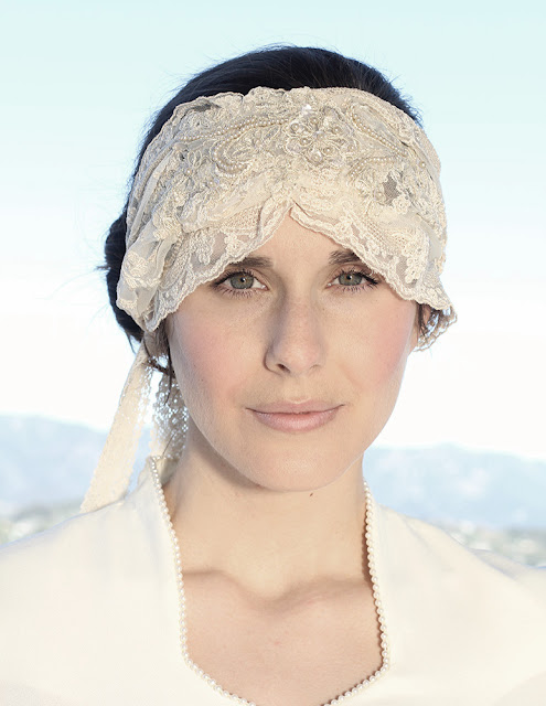 1920s inspired lace headpiece wrap - catherine masi