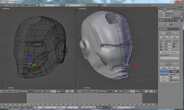 Iron Man Head 3D Animation Blender
