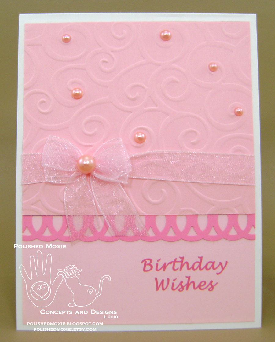 Picture of handmade girly pink birthday card