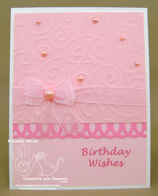 Front of my handmade girly pink birthday card.
