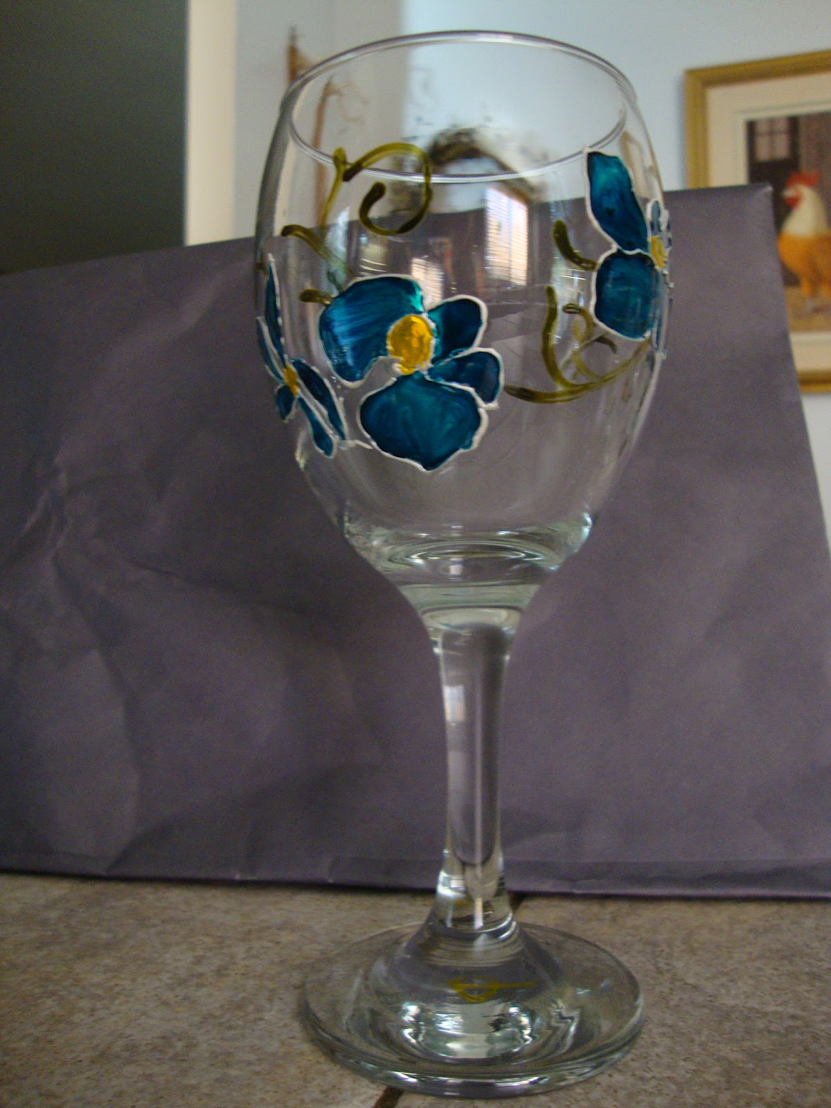 Crafty cooky diy painted orchid wine glasses for Diy painted wine glasses