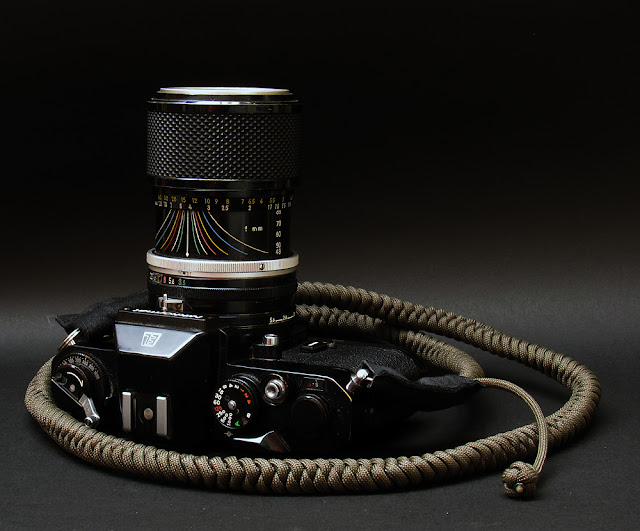Nikkormat EL with Zoom - Nikkor 43-86 and Olvie bespoke camera strap by Tim Irving