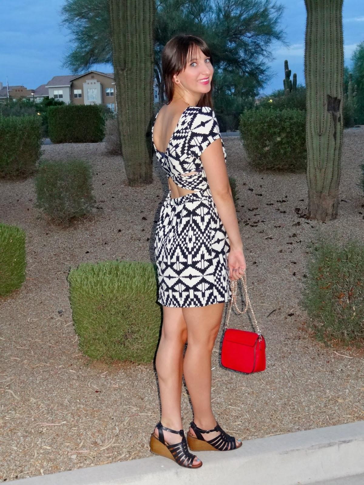 Black dress with red bag - Thursday October 17 2013