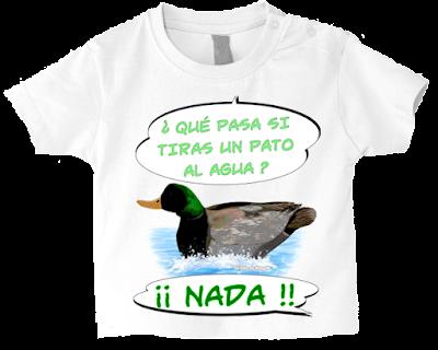 """Camiseta manga corta para bebé """"Pato nadando"""" color blanco"""