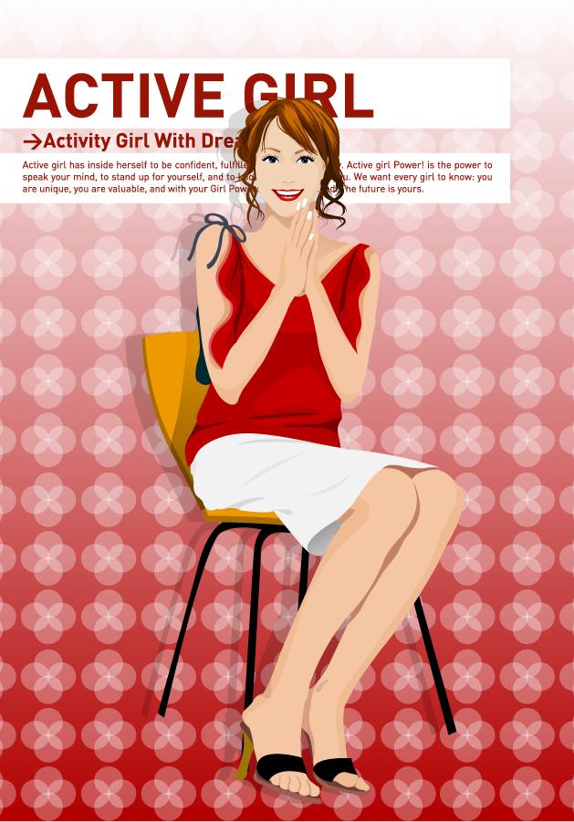 明るい笑顔の女性 beautiful girl vector イラスト素材