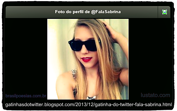 Photo-Avatar do Perfil do Twitter de Fala Sabrina, A Gatinha do Twitter 2013 Formato PNG (Alta Qualidade Fotográfica), customizada com links e borda Dark