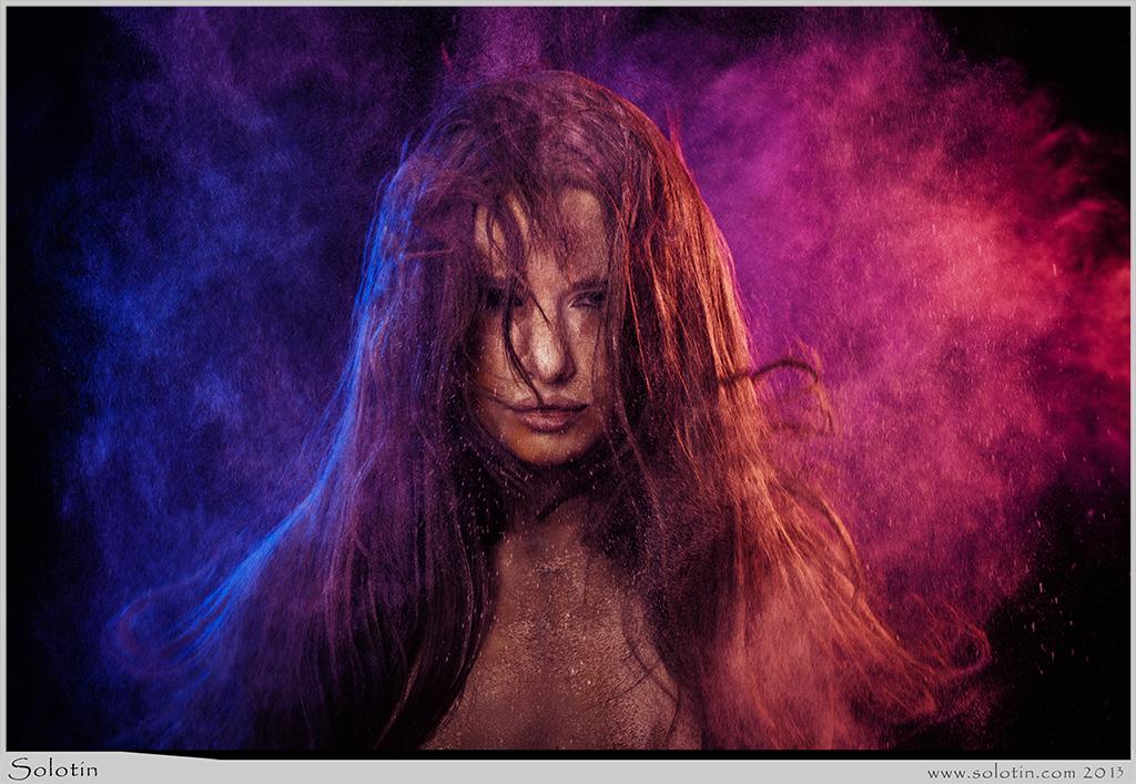 сухие краски, мука, пыль, модель, студия, фото, девушка, волосы, как делать, как снимать, Юрий Солотин