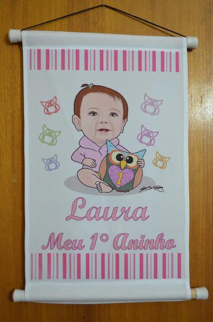 Banner de 1 ano da Laura - Caricatura M2LOPES