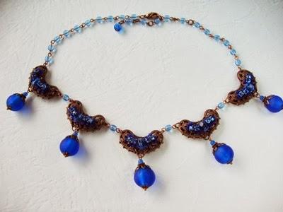 vintage Swarovski mdmButiik rhinestone jewelry designer Estonia Bijoux Collier Bleu perles anciennes de verre crystal Halskette Schmuck perlen Swarovski