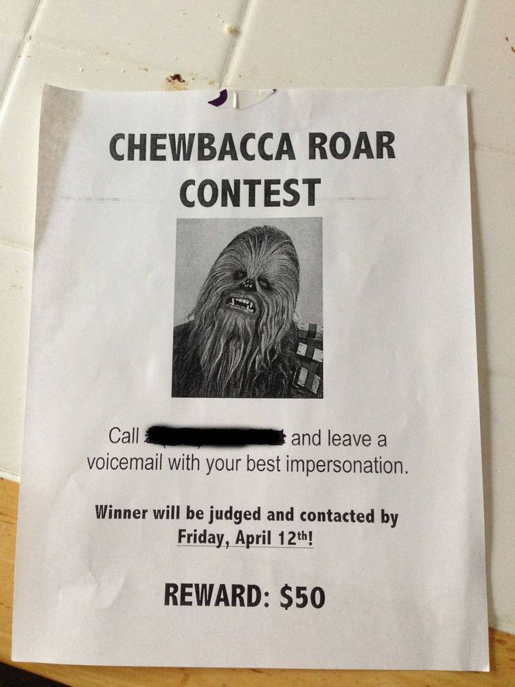 stage a fake chewbacca contest on a friend's voicemail