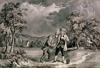 Benjamin Franklin flying a kite during a thunderstorm