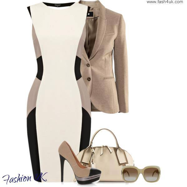 White and brown gown, brown jacket, high heel sandals and hand bag for ladies