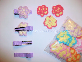 two layer two tone crochet flower on lined hair clip