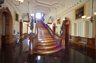 photos of the interior grand staircase of iolani palace in honolulu hawaii united states usa