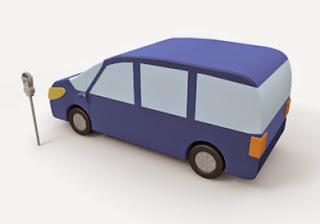 駐車中の自動車