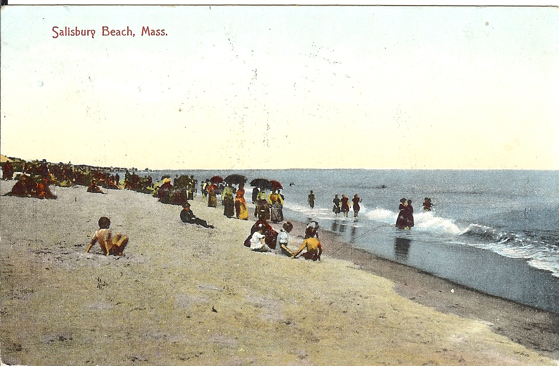 cold, water, atlantic ocean, salisbury, massachusetts, postcard, women, children,