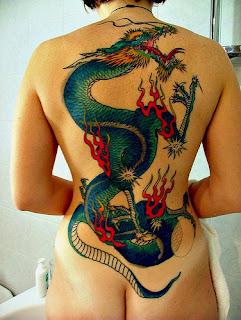 Full Color Dragon Tattoo on Girls Back