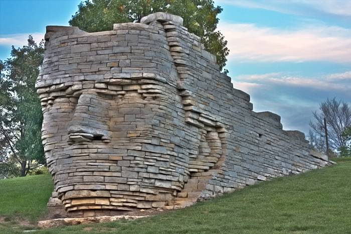 Chief Leatherlips Monument, a 12-foot-high portrait of a great Indian chief that seems to be busting out of a wall. Chief Leatherlips was known as a good friend of both Indians and white settlers.