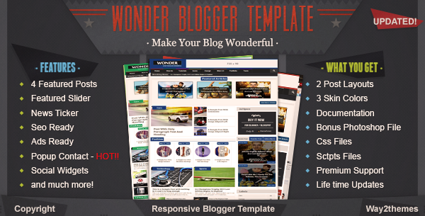 Wonder Responsive Multimedia Blogger Template