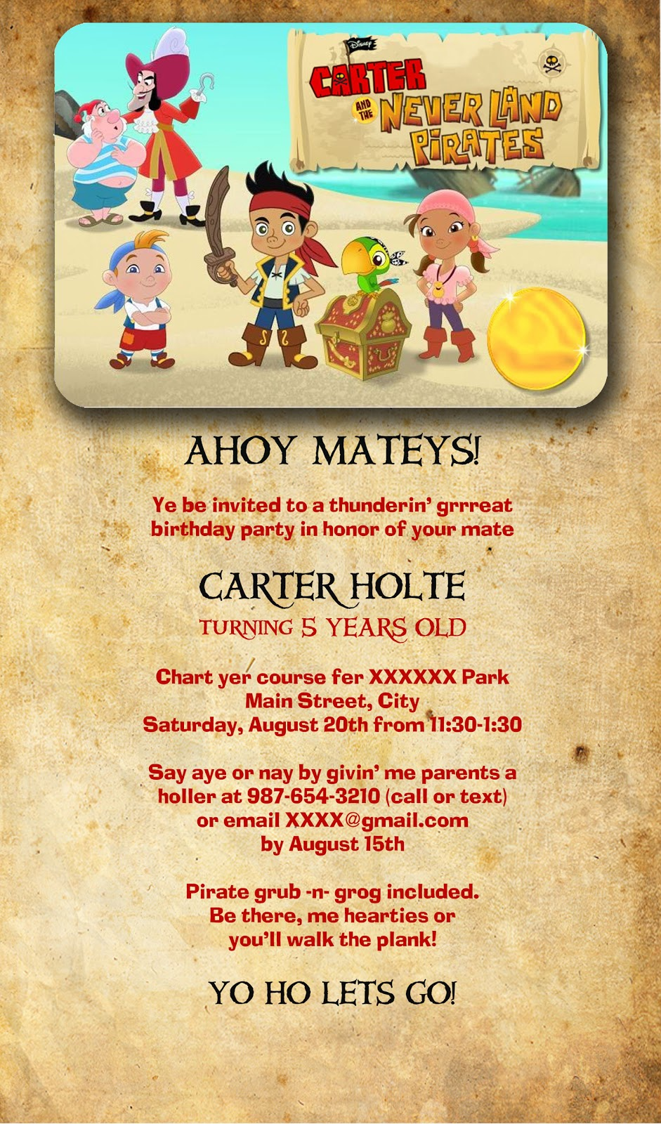 Jake And The Neverland Pirates Invitations Wording