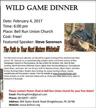 2-4-2017 Wild Game Dinner Bell Run Church