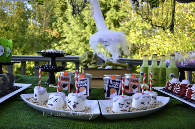 zombie party treat table marshmallows