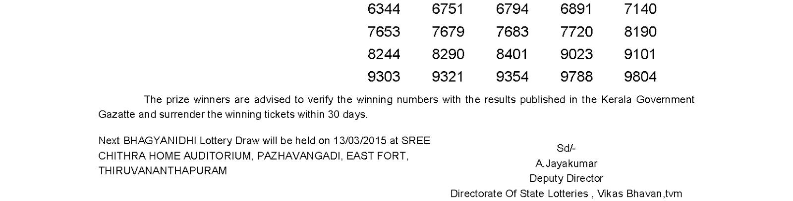 BHAGYANIDHI Lottery BN 178 Result 6-3-2015