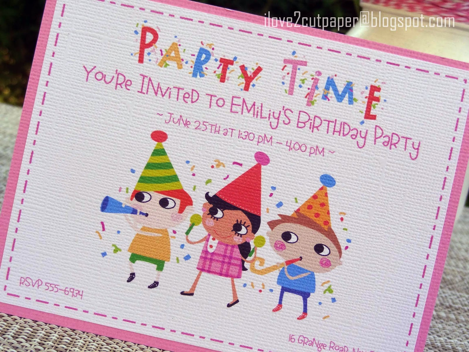 i love 2 cut paper: \'Party Time\' Invitation and Party Bag