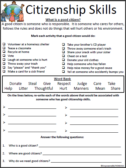 Printables Citizenship Worksheets empowered by them citizenship skills skills