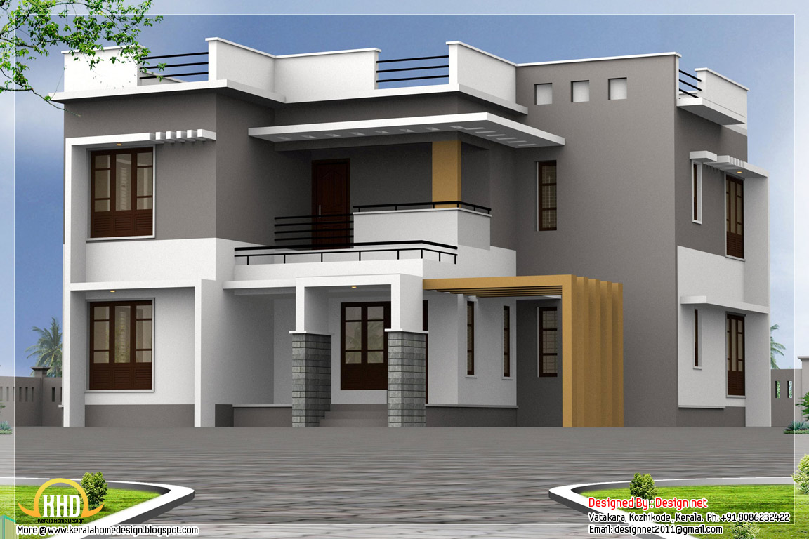 2500 4 bedroom modern house kerala home design for Modern house plans under 2500 square feet