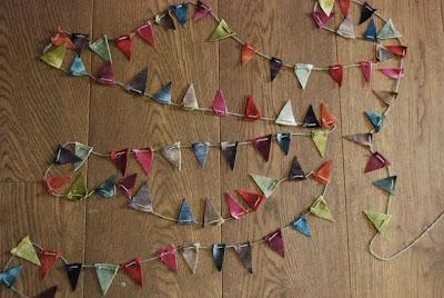guirnalda de banderines con retales de terciopelo miuniversodiy