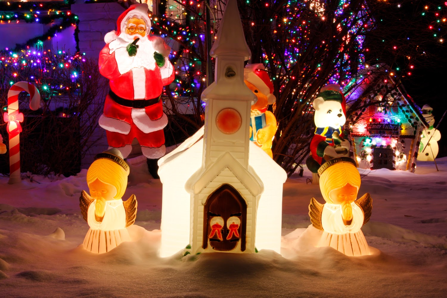 holiday lights, Christmas lights, photography, how to, Santa, church