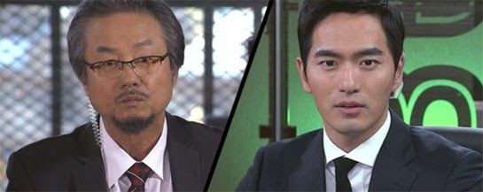 Jung Dong Hwan 정동환 as Choi Jin Chul is confronted in a television interview by Park Sun Woo.