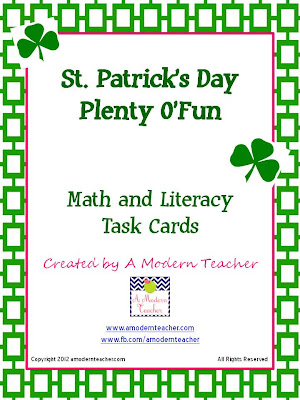 St. Patrick's Day Math and Literacy Task cards Freebie from www.amodernteacher.com