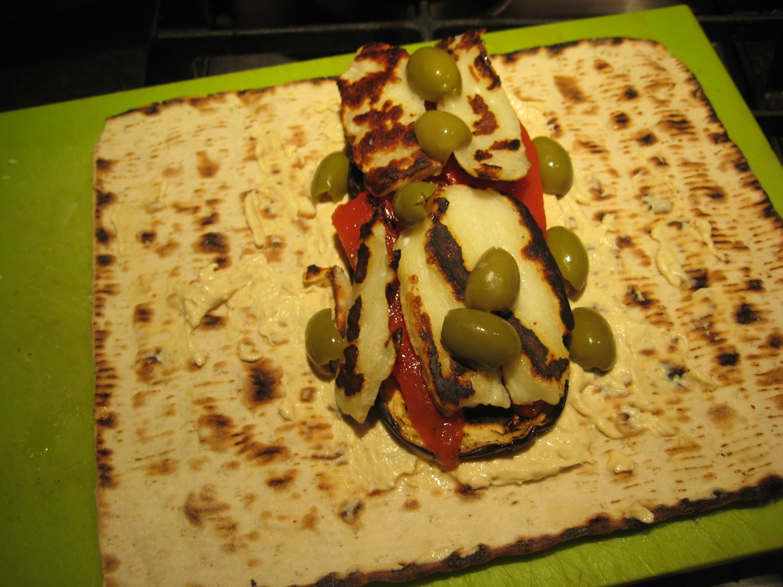 Lemon and Cheese: Hummus, Red Pepper and Halloumi Wrap