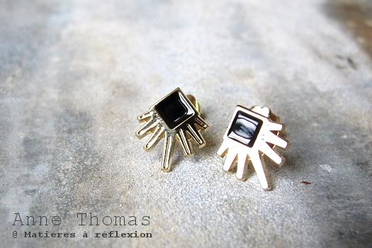 bijoux  doré noir Anne Thomas boucles Larsen noir doré