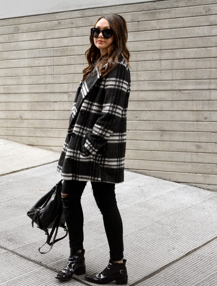 Topshop Plaid Coat
