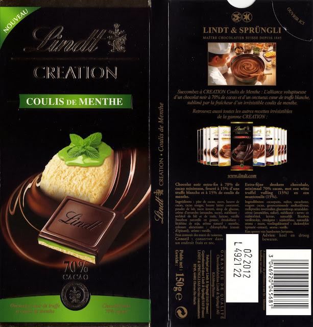 tablette de chocolat noir fourré lindt création coulis de menthe