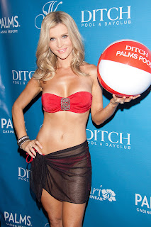 Joanna Krupa strikes a pose in a red swimsuit
