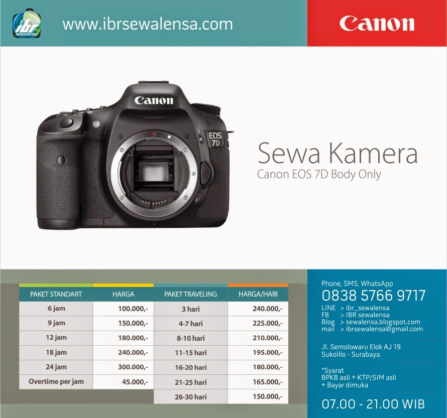 7D. Harga Sewa kamera DSLR Canon EOS 7D Surabaya