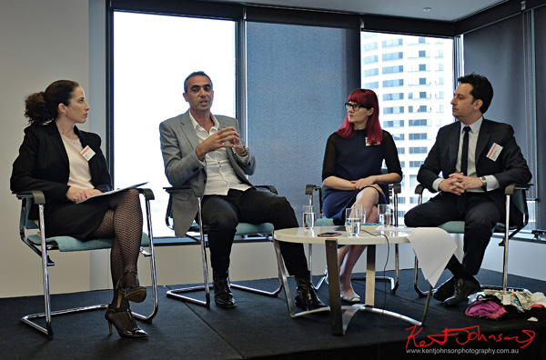 Panel for the Sydney Fashion Law Breakfast at K&L Gates, L to R Lisa Egan, Anthony Halas, Glynis Traill-Nash, Jonathan Feder. Photographed by Kent Johnson for Street Fashion Sydney.