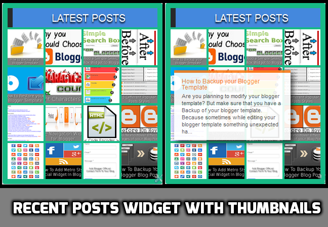 Recent Posts Widget with Thumbnails and Tooltip
