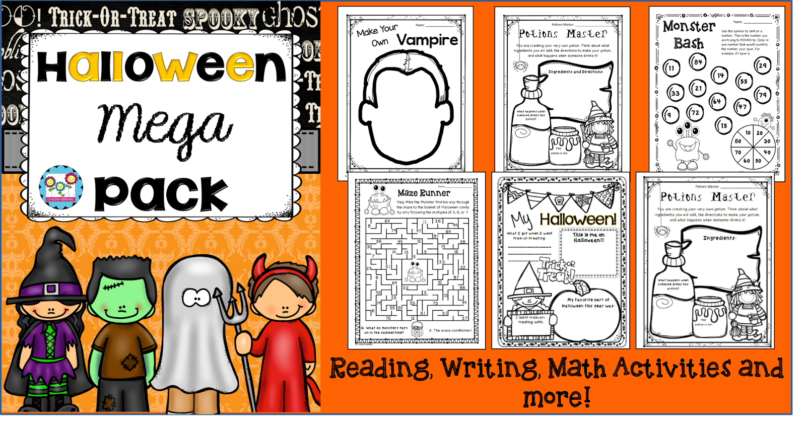 http://www.teacherspayteachers.com/Product/Halloween-Mega-Pack-Reading-Comprehension-Writing-and-Math-Activities-904319