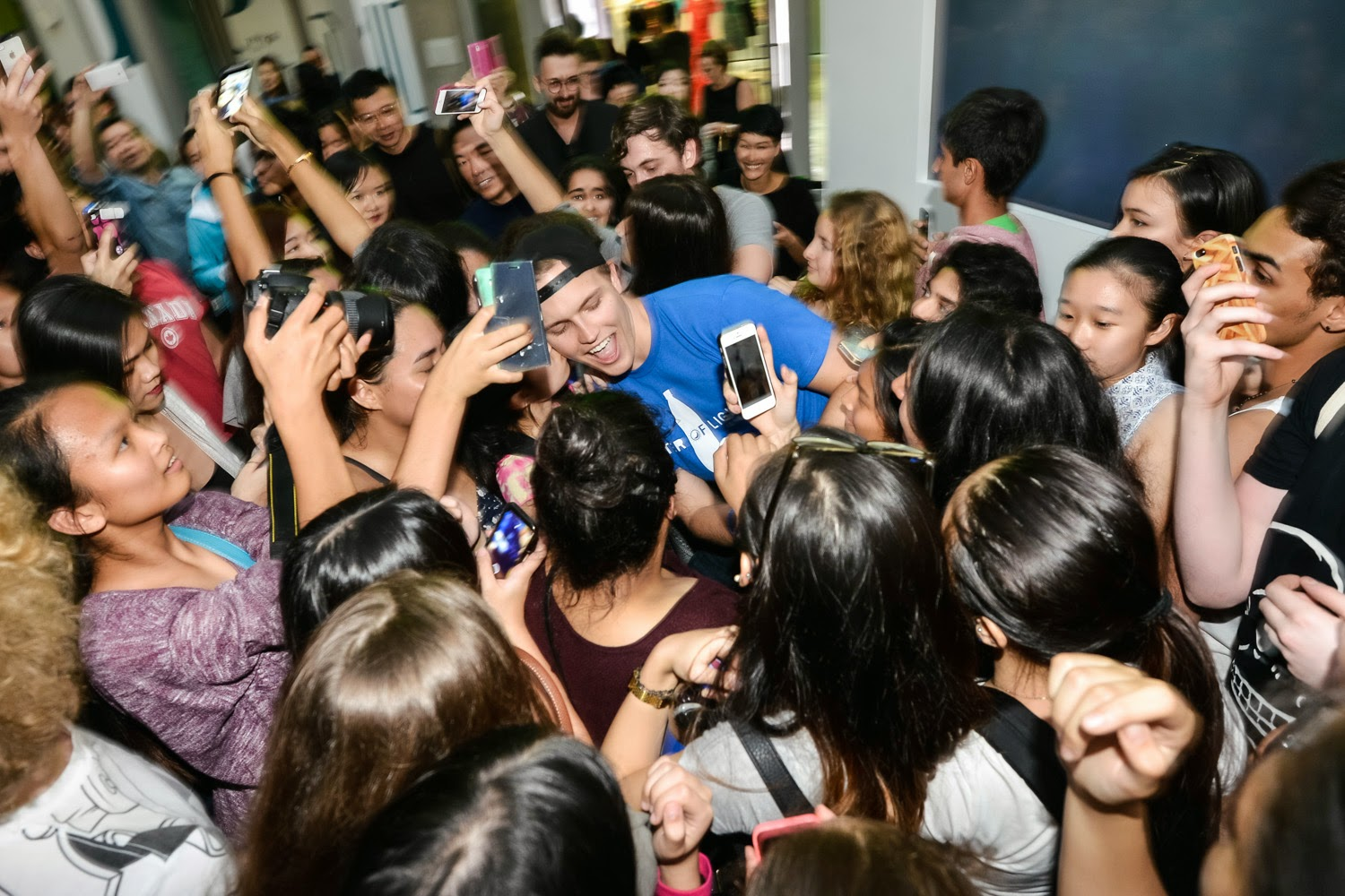 "Jerome Jarre, Vine/Snapchat Star takes photo with fans at The Pepsi x Liter Of Light ""Ignite The Light"" Tour at PMQ, Central on March 15, 2015 in Hong Kong"